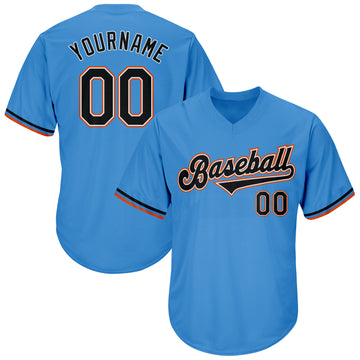 Custom Powder Blue Black-Orange Authentic Throwback Rib-Knit Baseball Jersey Shirt
