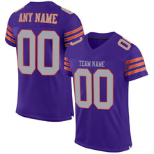 Load image into Gallery viewer, Custom Purple Gray-Orange Mesh Authentic Football Jersey