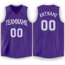 Load image into Gallery viewer, Custom Purple White V-Neck Basketball Jersey