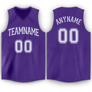 Custom Purple White V-Neck Basketball Jersey