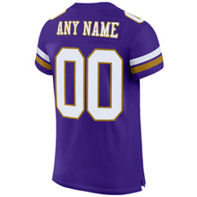 Load image into Gallery viewer, Custom Purple White-Old Gold Mesh Authentic Football Jersey