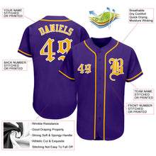 Load image into Gallery viewer, Custom Purple Gold-White Authentic Baseball Jersey