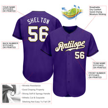 Load image into Gallery viewer, Custom Purple White-Old Gold Authentic Baseball Jersey