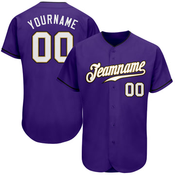 Custom Purple White-Old Gold Authentic Baseball Jersey