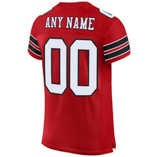 Load image into Gallery viewer, Custom Red White-Black Mesh Authentic Football Jersey