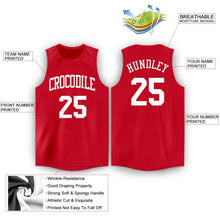 Load image into Gallery viewer, Custom Red White Round Neck Basketball Jersey
