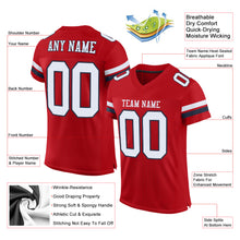 Load image into Gallery viewer, Custom Red White-Navy Mesh Authentic Football Jersey