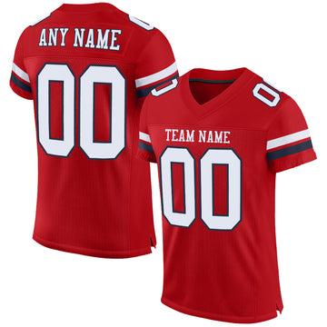 Custom Red White-Navy Mesh Authentic Football Jersey