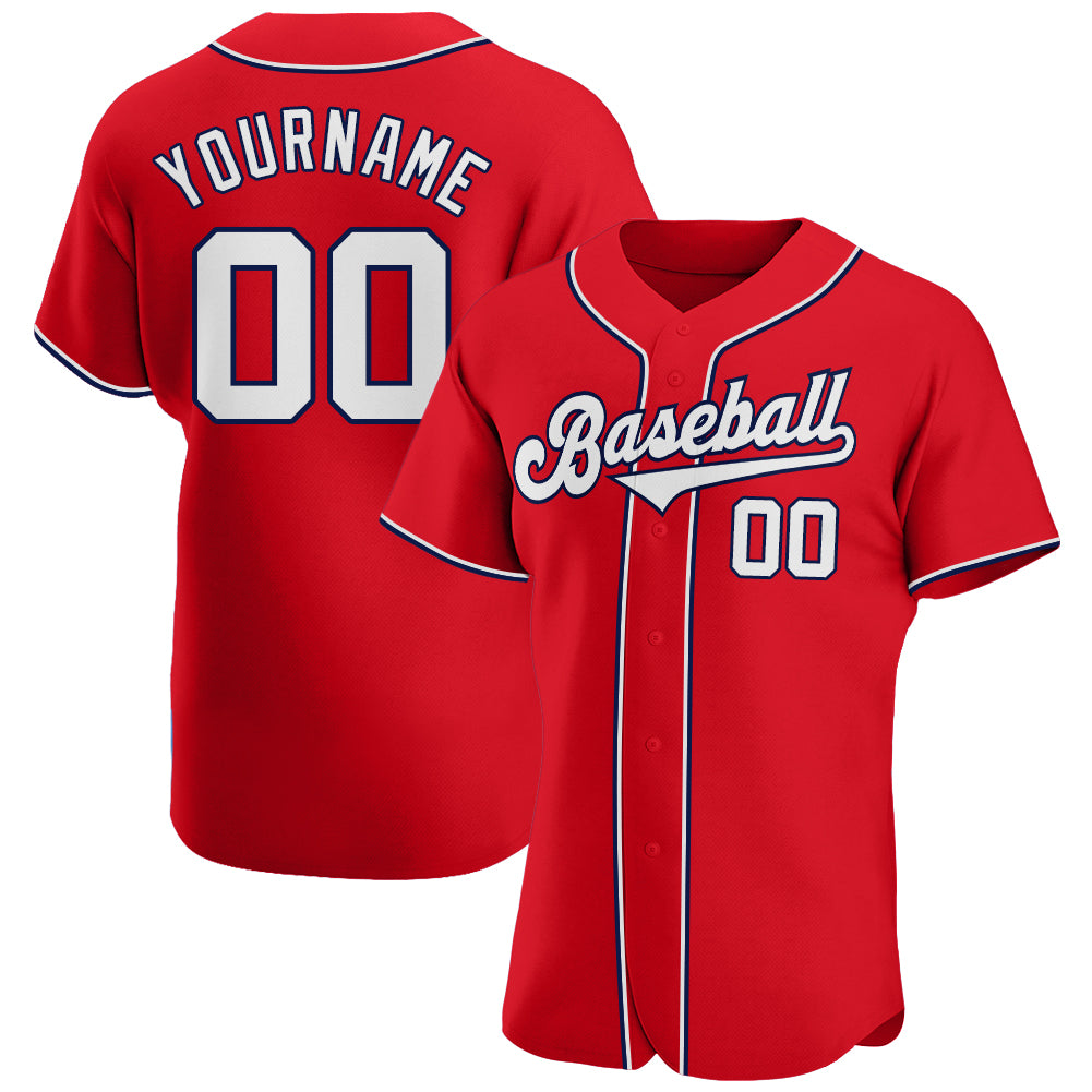 Custom Red White-Navy Authentic Baseball Jersey