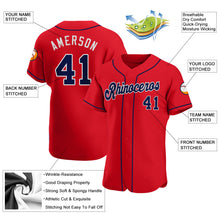 Load image into Gallery viewer, Custom Red Navy-White Authentic Baseball Jersey