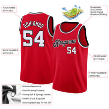 Load image into Gallery viewer, Custom Red White-Black Round Neck Rib-Knit Basketball Jersey