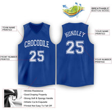Load image into Gallery viewer, Custom Royal White V-Neck Basketball Jersey