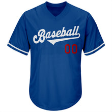 Load image into Gallery viewer, Custom Royal White-Red Authentic Throwback Rib-Knit Baseball Jersey Shirt