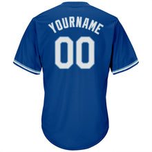 Load image into Gallery viewer, Custom Royal White-Light Blue Authentic Throwback Rib-Knit Baseball Jersey Shirt