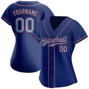 Custom Royal Light Blue-Red Authentic Baseball Jersey