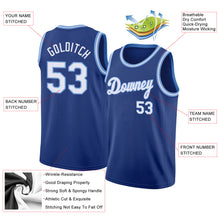 Load image into Gallery viewer, Custom Royal White-Light Blue Round Neck Rib-Knit Basketball Jersey