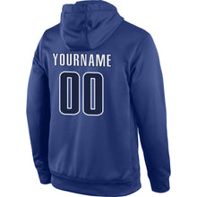 Load image into Gallery viewer, Custom Stitched Royal Navy-White Sports Pullover Sweatshirt Hoodie