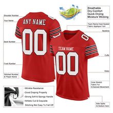 Load image into Gallery viewer, Custom Scarlet White-Black Mesh Authentic Football Jersey