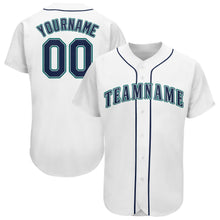 Load image into Gallery viewer, Custom White Navy-Aqua Baseball Jersey
