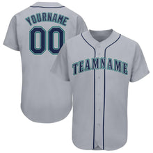 Load image into Gallery viewer, Custom Gray Navy-Aqua Baseball Jersey