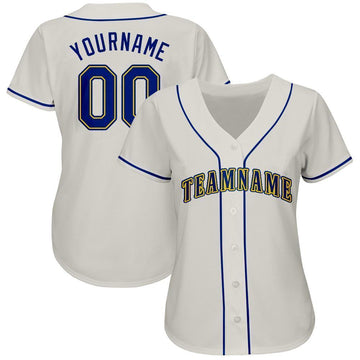 Custom Cream Royal-Gold Baseball Jersey