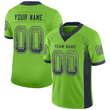 Load image into Gallery viewer, Custom Neon Green Navy-Gray Mesh Drift Fashion Football Jersey