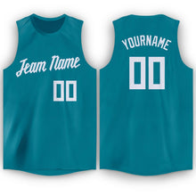 Load image into Gallery viewer, Custom Teal White Round Neck Basketball Jersey