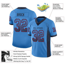 Load image into Gallery viewer, Custom Powder Blue Navy-Red Mesh Drift Fashion Football Jersey