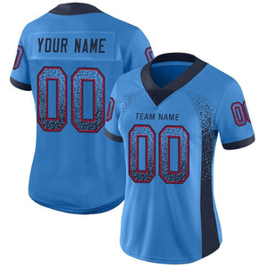 Custom Powder Blue Navy-Red Mesh Drift Fashion Football Jersey