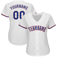 Load image into Gallery viewer, Custom White Royal-Red Baseball Jersey