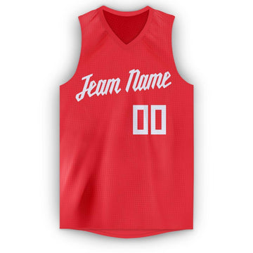 Custom Tomato White V-Neck Basketball Jersey