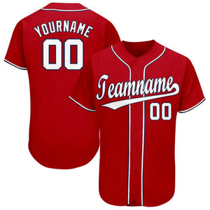 Custom Red White-Navy Baseball Jersey