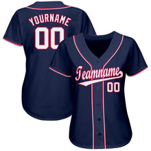 Load image into Gallery viewer, Custom Navy White-Red Baseball Jersey
