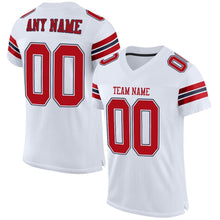 Load image into Gallery viewer, Custom White Red-Navy Mesh Authentic Football Jersey