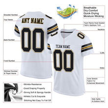 Load image into Gallery viewer, Custom White Black-Old Gold Mesh Authentic Football Jersey