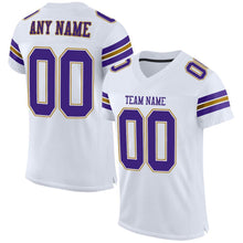 Load image into Gallery viewer, Custom White Purple-Old Gold Mesh Authentic Football Jersey
