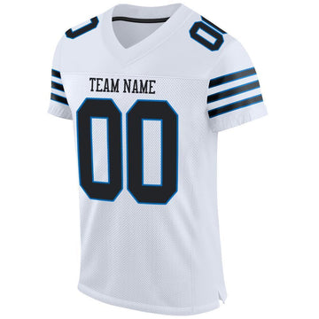 Custom White Black-Panther Blue Mesh Authentic Football Jersey