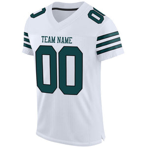 Custom White Midnight Green-Black Mesh Authentic Football Jersey