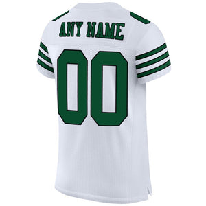 Custom White Gotham Green-Black Mesh Authentic Football Jersey