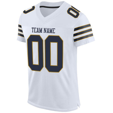 Custom White Navy-Old Gold Mesh Authentic Football Jersey