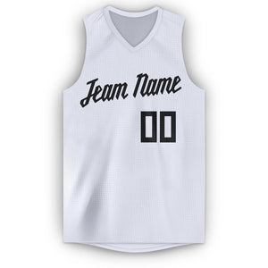 Custom White Black V-Neck Basketball Jersey