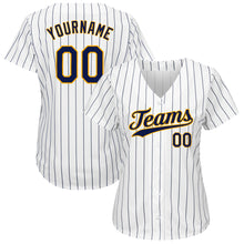 Load image into Gallery viewer, Custom White Navy Strip Navy-Gold Authentic Baseball Jersey