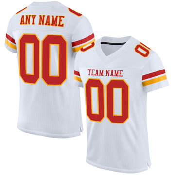 Custom White Scarlet-Gold Mesh Authentic Football Jersey