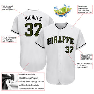 Custom White Olive-Black Authentic Memorial Day Baseball Jersey