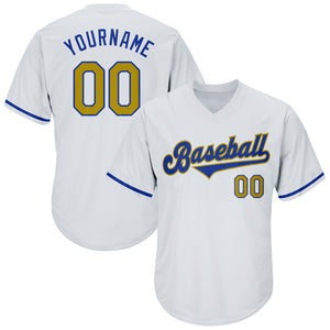 Custom White Old Gold-Royal Authentic Throwback Rib-Knit Baseball Jersey Shirt