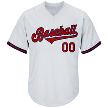 Load image into Gallery viewer, Custom White Red-Navy Authentic Throwback Rib-Knit Baseball Jersey Shirt