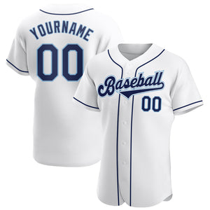 Custom White Navy-Powder Blue Authentic Baseball Jersey