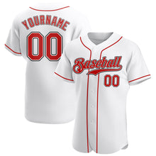 Load image into Gallery viewer, Custom White Red-Black Authentic Baseball Jersey