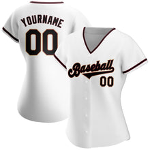 Load image into Gallery viewer, Custom White Black-Crimson Authentic Baseball Jersey