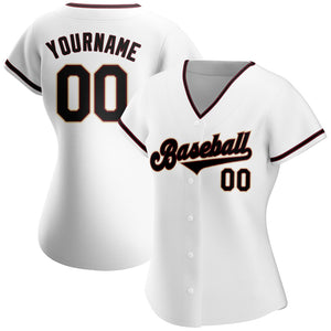 Custom White Black-Crimson Authentic Baseball Jersey